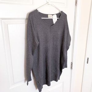 Dreamers | grey v-neck oversized sweater (nwt)